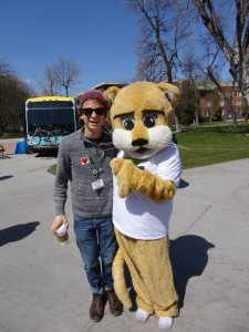 Our mascot Bolt! and me celebrating 35 years of Mountain Line last spring on campus